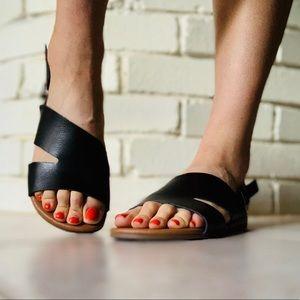 George Vegan Leather Wrap Cushion Peep Toe Sandal